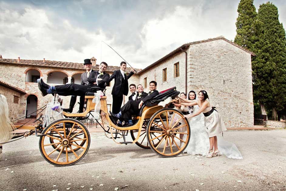 immagini matrimonio carrozza, cavallonatura Toscana